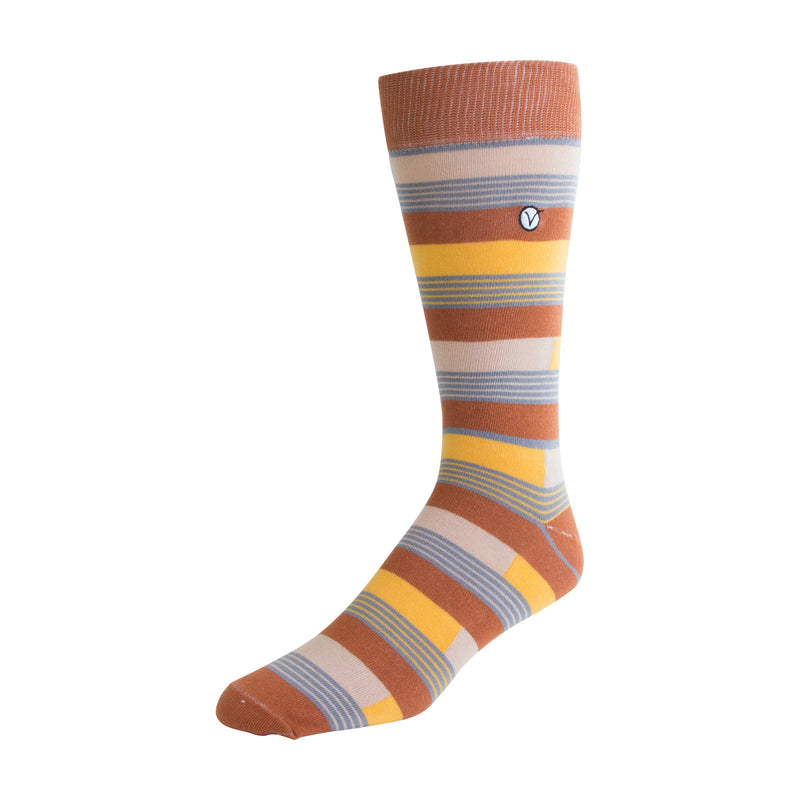 Men's Dress Sock - Yellow & Gray Block