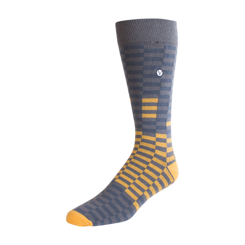 Men's Dress Sock - Yellow & Gray Checkers