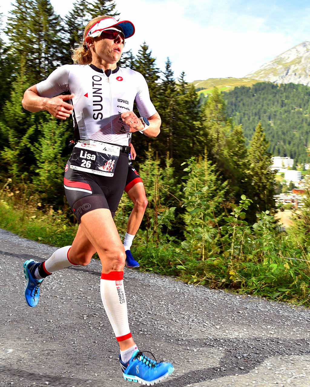 Lisa Roberts Chewing up some miles at Switzerland's 2019 Challenge Davos triathlon.