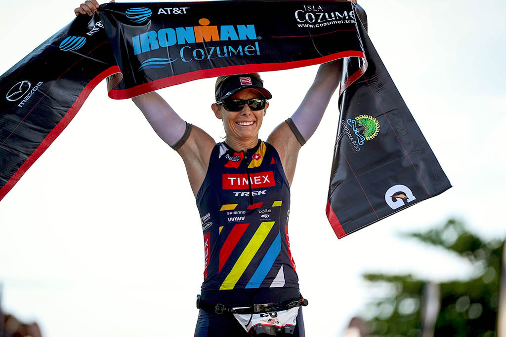 Lisa Roberts at finish after winning the 2017 Ironman Cozumel, her third Ironman victory in three months.