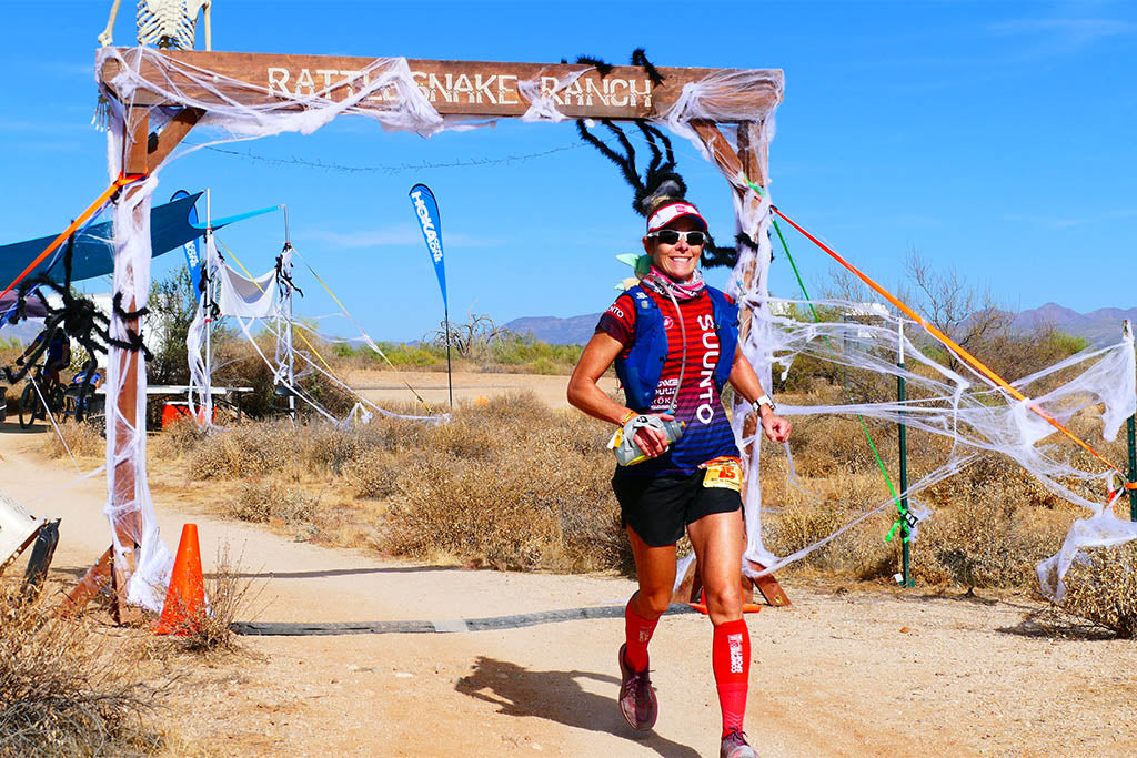 Lisa Roberts outside the Javelina Jundred Rattle Snake Ranch aid station.
