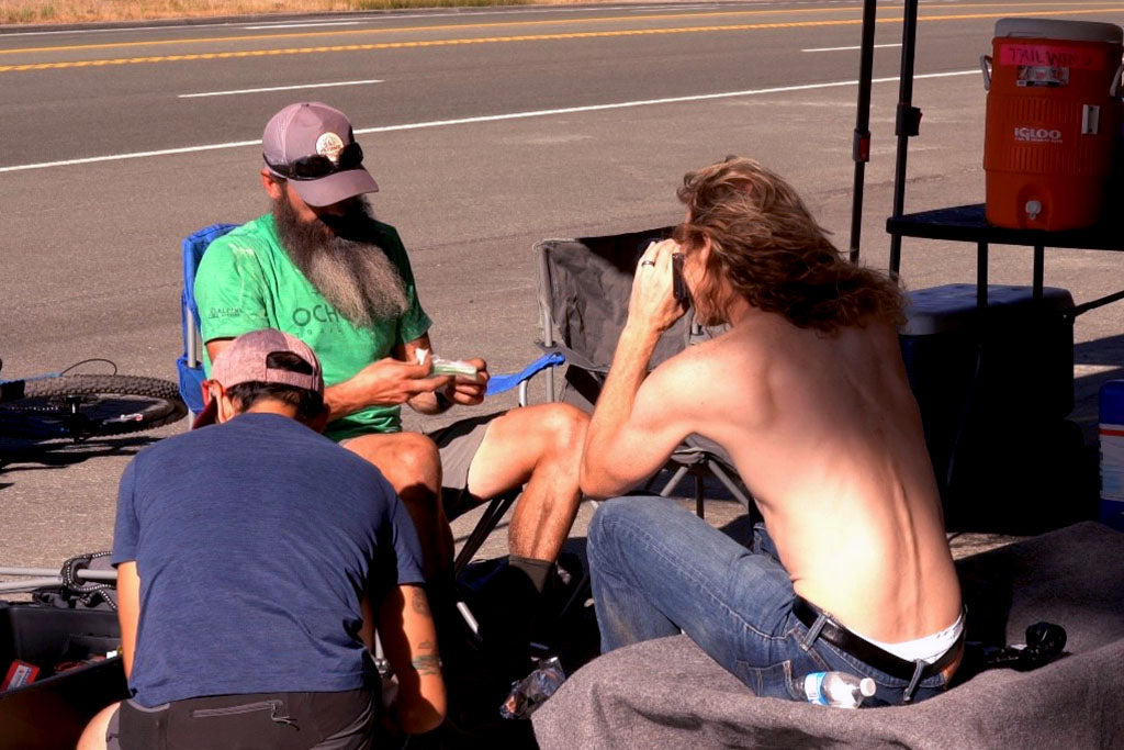 Matthew Van Horn, Taylor Spike, David Pila at Spooner Summit aid station on the Tahoe 200 course.