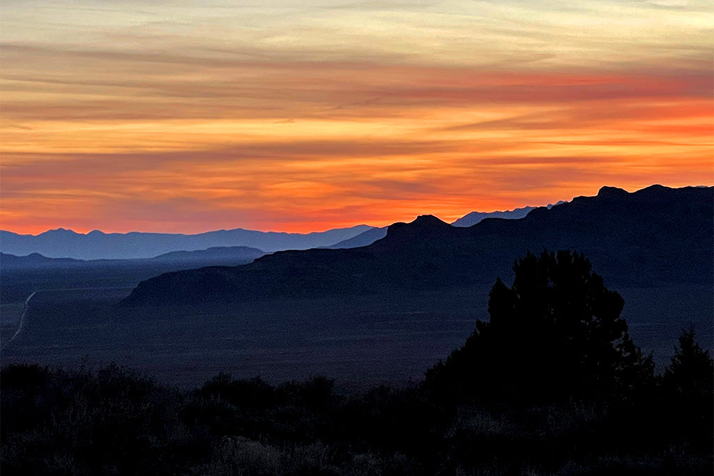 Sunset vista looking out over the pony express trail from Simpson Springs, Utah.