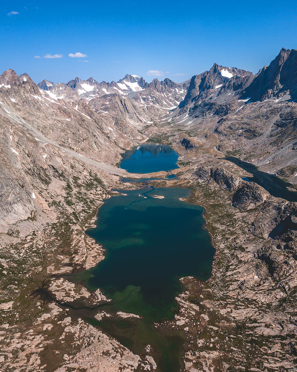 Aerial view of Titcomb lakes in Wind River, Wyoning mountain range.