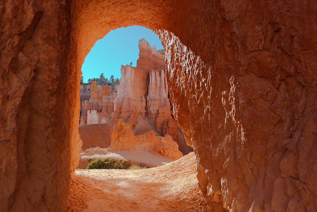 Looking through an arch-top aperature in Bryce Canyon National Park