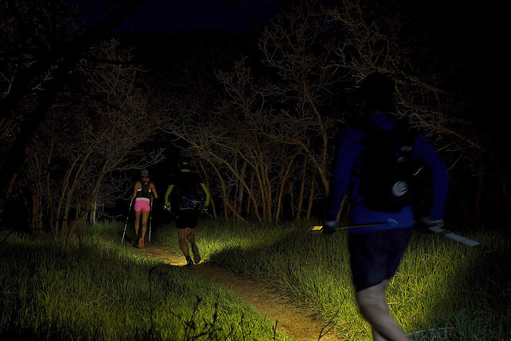 Three people running at night in a tunnel of trees