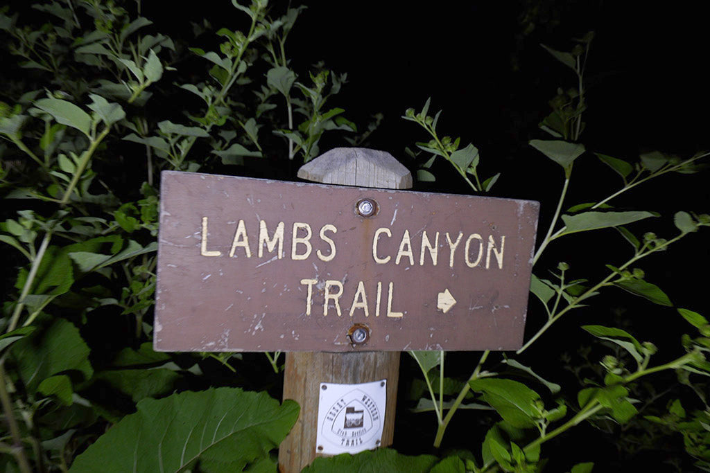 Sign on mountaindn trail. Lambs canyon.
