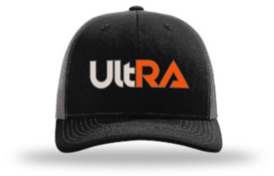 Kogalla UltRA snap-back trucker hat black/charcoal front view