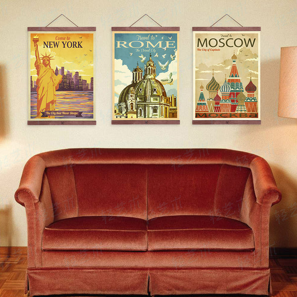 Triptych Vintage Retro New York Rome Moscow City Art Prints Poster Shabby Chic Wall Picture Canvas Oil Painting Hotel Home Decor