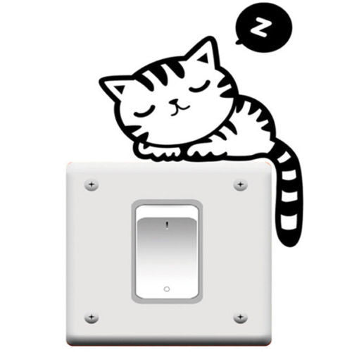 1PC Funny Cat Dog Removable Art Vinyl Switch Sticker Home Wall Window Decor NEW