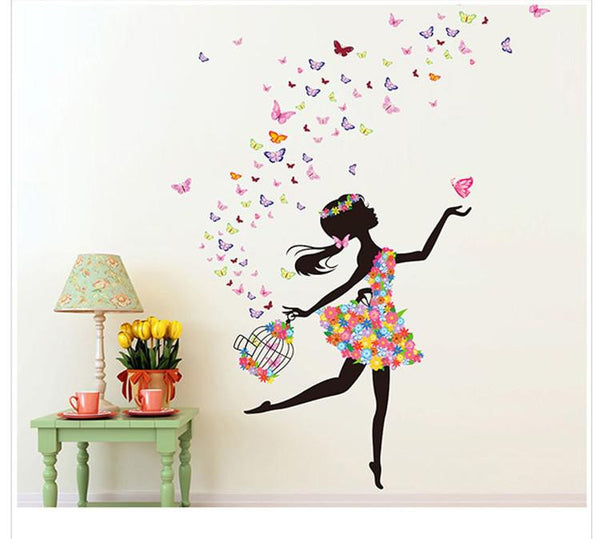 Free shipping wall sticker home decor butterfly sticker Bicycle and lovely girs sticker for home decor  For Kids Rooms