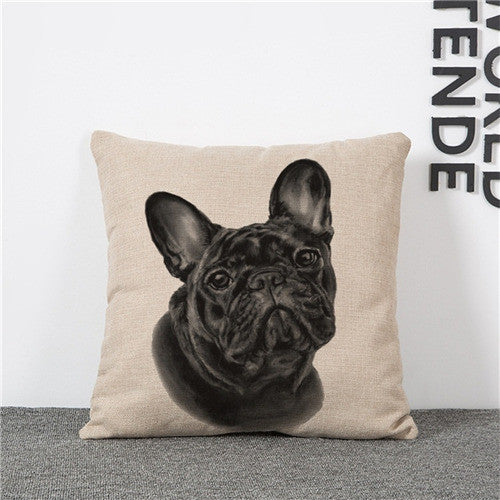 Cushion Cover Lovely Cute Pug Dog Pillowcases Cotton Linen Printed 18x18 inches Euro Pillow Covers Decorative Pillows
