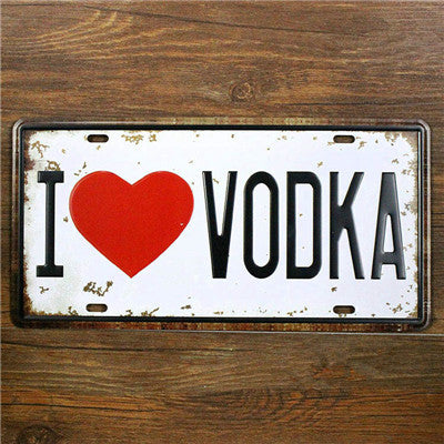 I love Beer I love Vodka Vintage Home Decor 15*30 CM Metal Sign Shabby Chic Tin Signs Car License Plate for Home Bar Pub Coffee