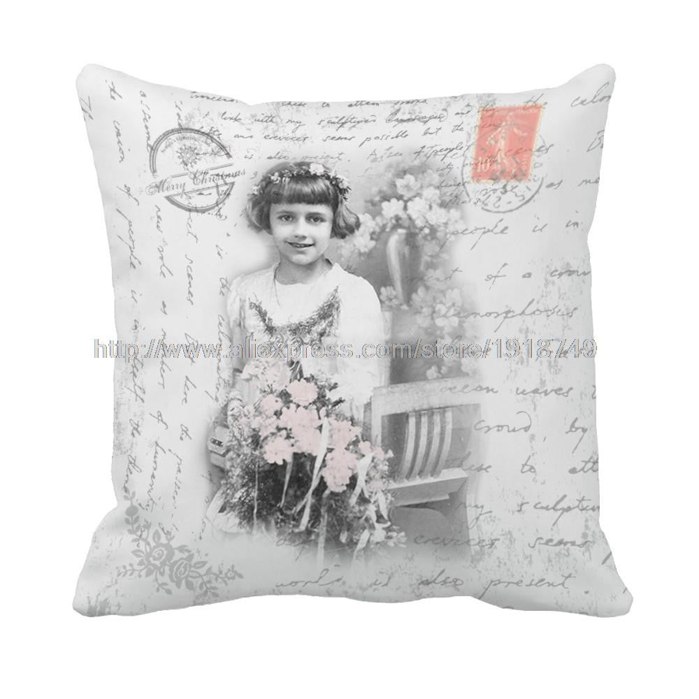 letter and girl with flower printed grey vintage cushion cover shabby chic home decor square decorative throw pillow case