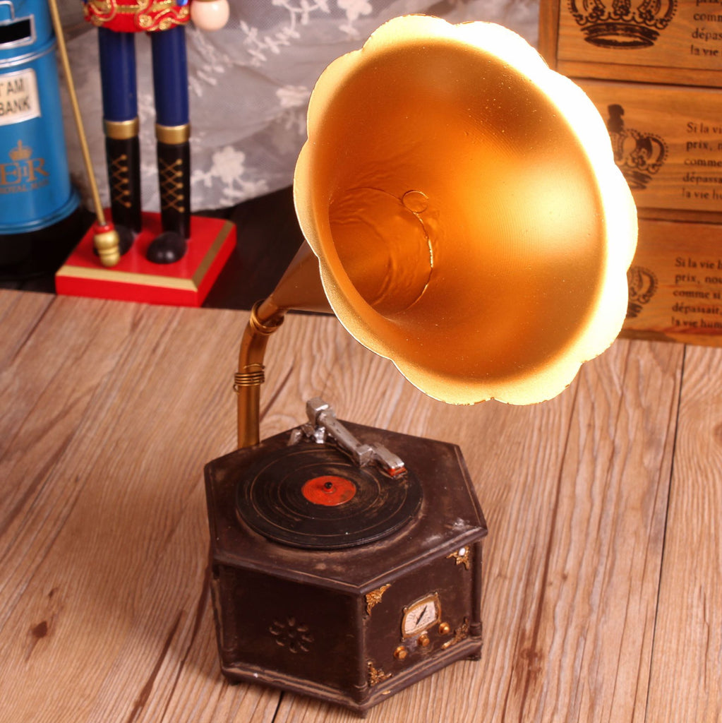 Zakka Shabby Chic Gramophone Resin Handicraft Vintage Home Decor Props Bar Home Decoration Accessories 28*13cm