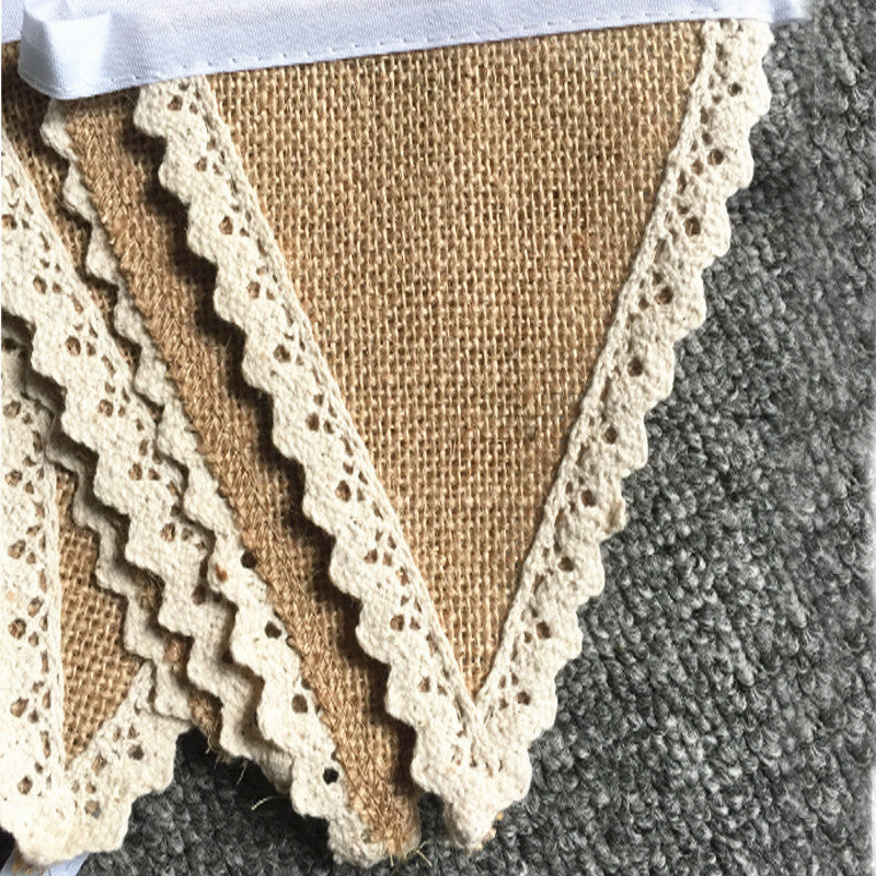 DIY Home Decoration Banner /event Party Supplies Jute Flag Rustic Hessian Burlap Lace Bunting Shabby Chic Wedding