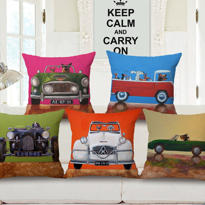 vintage european car print cushion cover 45x45cm home sofa seat cushion car covers decorative throw pillow cover shabby chic