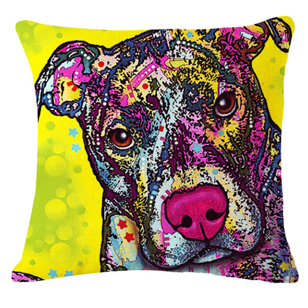 Teckel Lovely Animals Shabby Chic Dog Pets Printed Cotton Linen Cushion Cover For Sofa Home Decor funda cojines 45x45cm