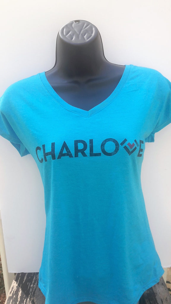 Ladies V-Neck Tri-Blend T Shirt - Charcoal Gray