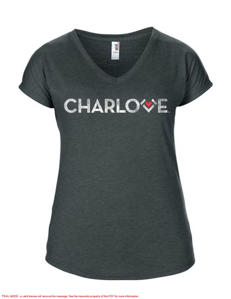 Ladies V-Neck Tri-Blend T Shirt - White
