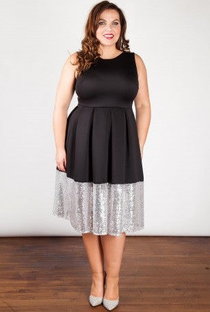 SAMARIE Black Dress with Silver Sequin Border