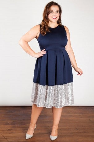 Beloved Endeavour navy blue silver sequin border plus size dress sleeveless