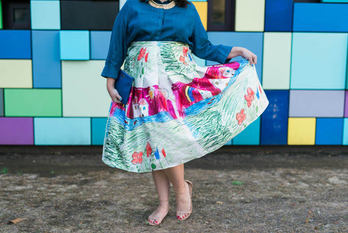 ed2c9887d02b3 plus size hand made flared skirt child drawing Beloved Endeavour