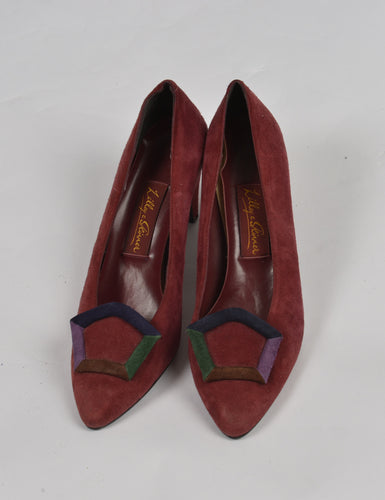Vintage Burgundy Suede Shoes Size 5 1980s 1990s