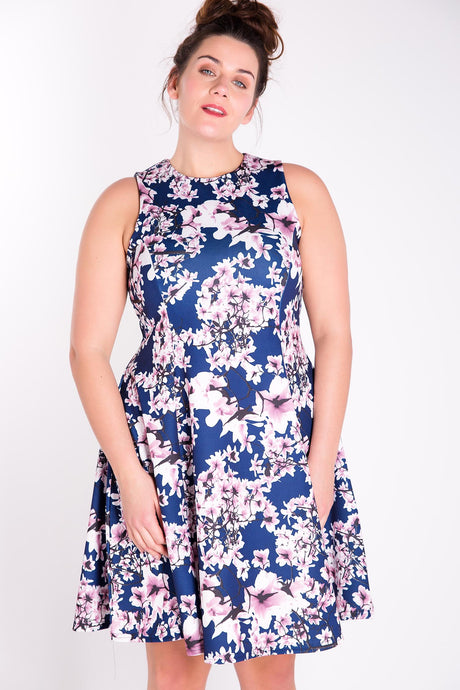 MARIE Cherry Blossom Fit and Flare Dress