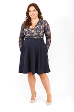 BELOVED ENDEAVOUR plus size v neck lace skater dress with pockets long sleeve
