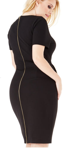 plus size black pencil dress with zip and pockets short sleeve bodycon BELOVED ENDEAVOUR