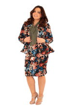 plus size peplum skirt jacket suit fashion vintage floral