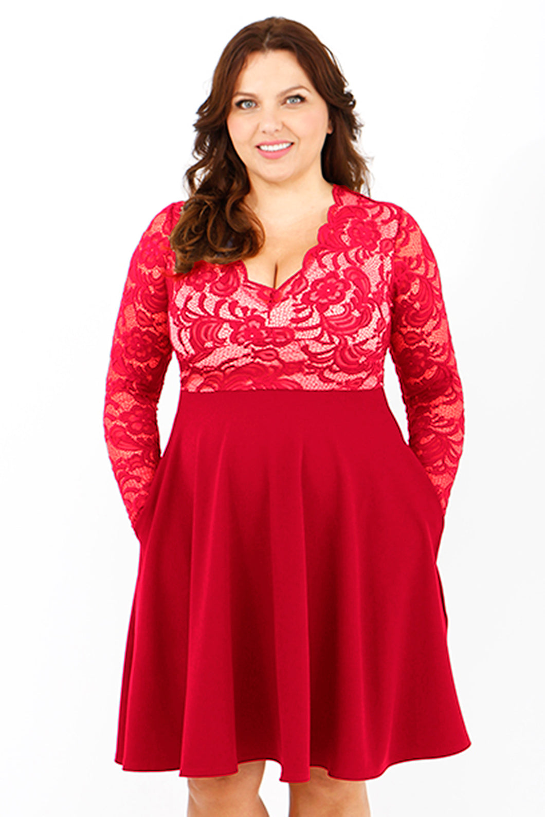 BELOVED ENDEAVOUR plus size v neck lace skater dress with pockets long sleeve RED VALENTINE