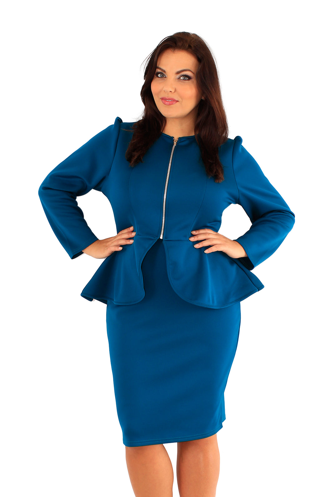 plus size peplum suit blue green teal bodycon BELOVED ENDAVOUR CURVE