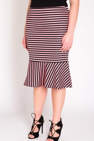 SASHA Stripe Skirt in Pink with Fishtail