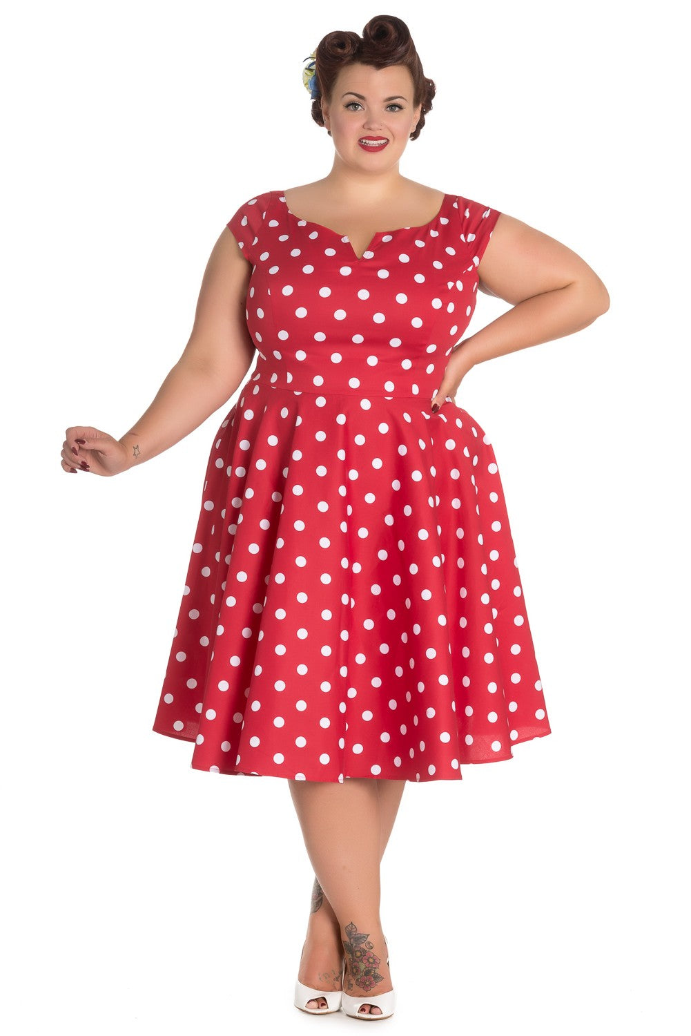 Beloved Endeavour Hell Bunny Nicky 50s 1950s Polkadot Red White Dress reproduction