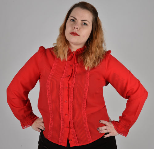 Red Vintage Blouse Size 18