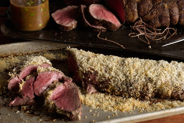Porcini Crusted Beef Tenderloin with Truffle Butter Sauce