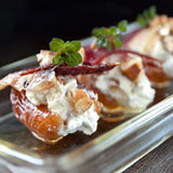 Goat Cheese & Pesto Stuffed Dates with Duck Prosciutto