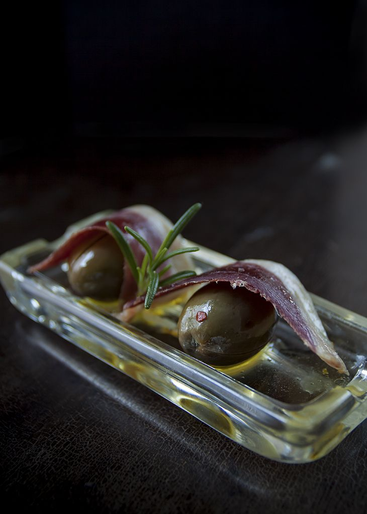 Spanish Tapas: Marinated Green Olives with Duck Prosciutto