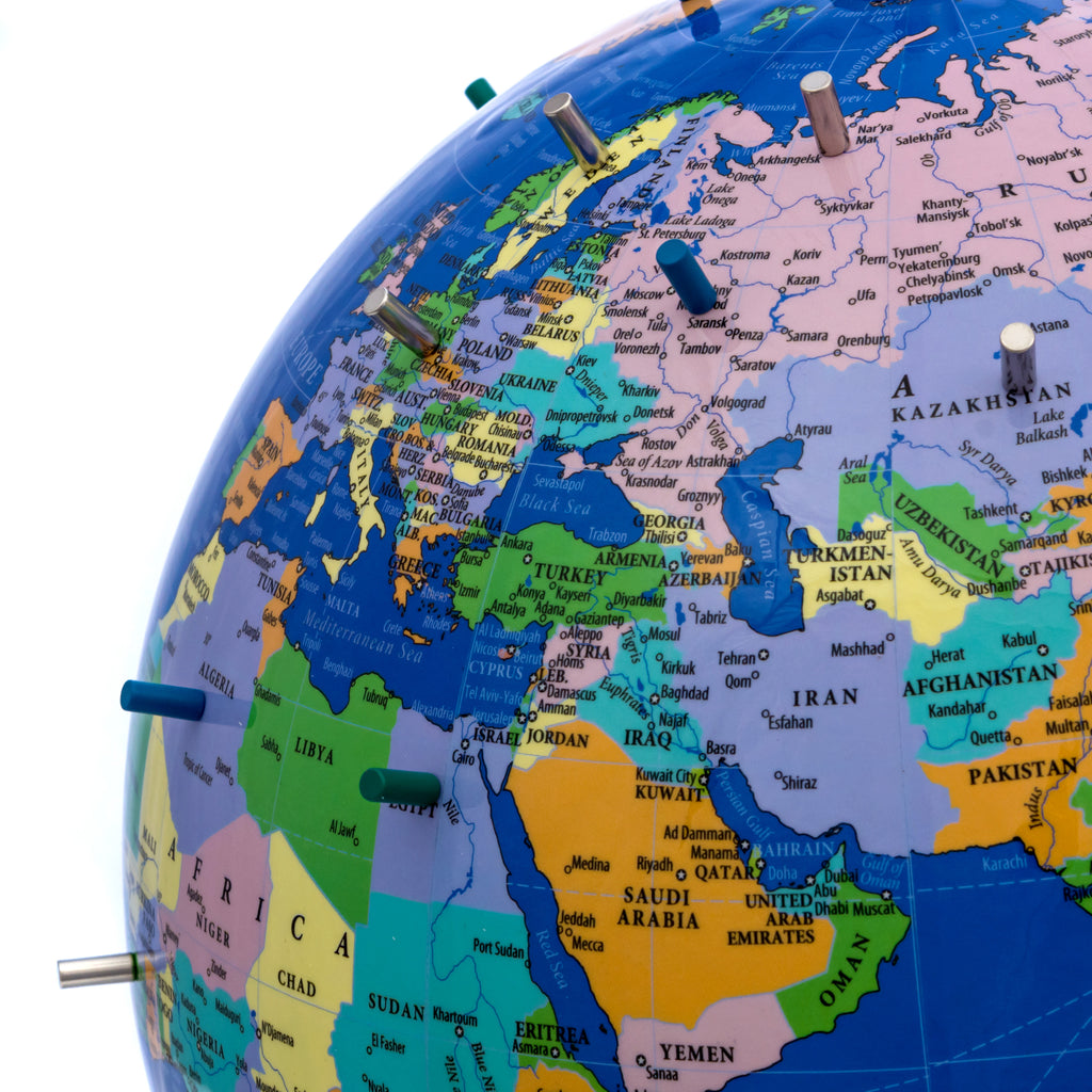 Map Of The Globe Of The World.Magnetic World Globe