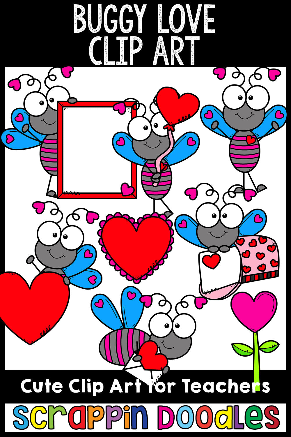 Buggy Love Valentine's Day Clip Art Commercial Use