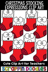 Christmas Stocking Facial Expressions Clip Art Emotions