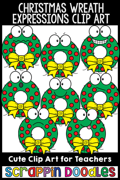 Christmas Wreath Facial Expressions Clip Art Emotions