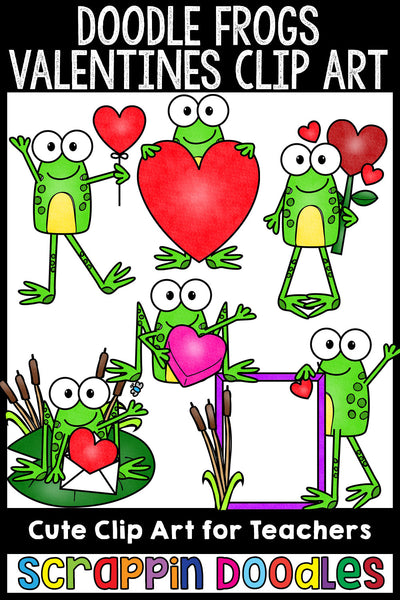 Doodle Frogs Valentine Clip Art Commercial Use