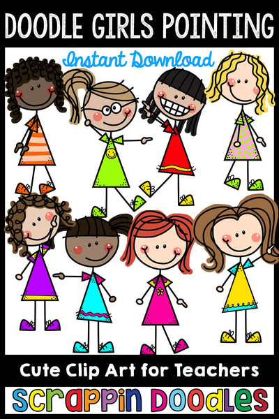 Doodle Girls - Kids Pointing Clip Art