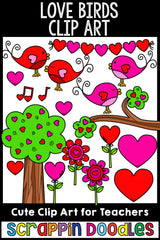 Love Birds Valentine's Day Clip Art Commercial Use