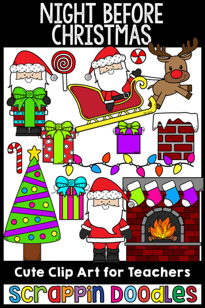 Night Before Christmas Clip Art Christmas Eve Graphics Illustrations