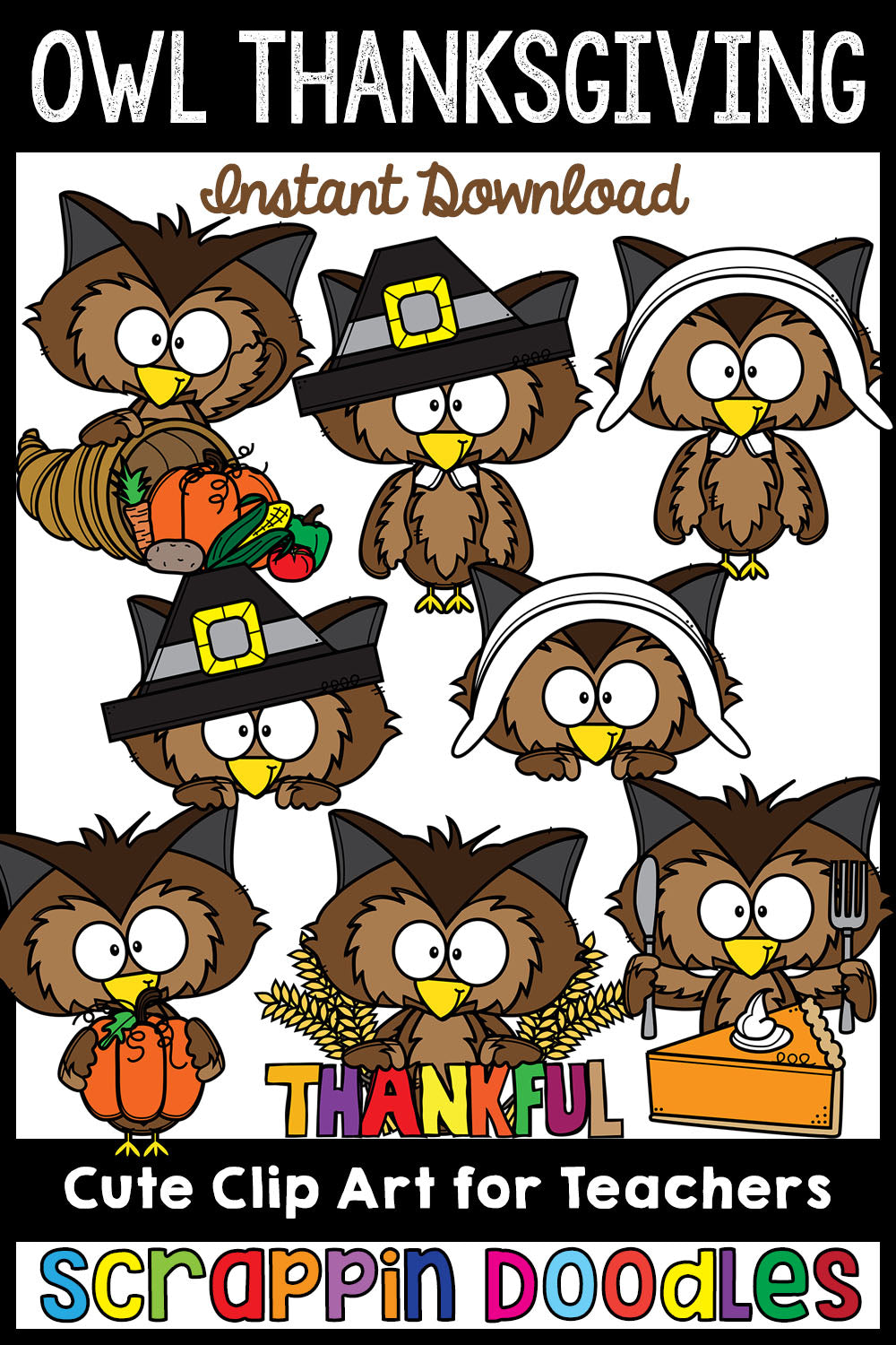 Owl Thanksgiving Clip Art