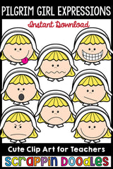 Pilgrim Girl Expressions Thanksgiving Clip Art